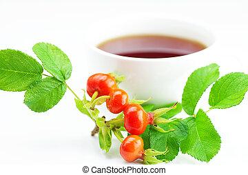 rosehip, taza, hojas de té, plano de fondo, blanco, bayas