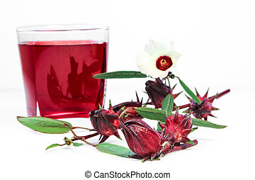 Roselle fruits and drink. - Fresh Roselle fruits against a ...
