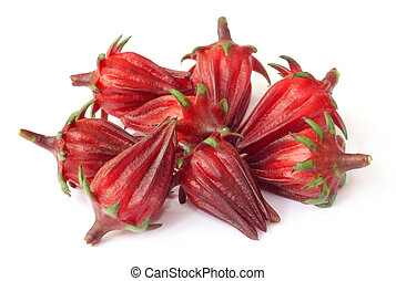 Roselle fruits - Hibiscus sabdariffa or roselle fruits over ...