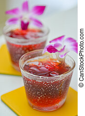 Roselle juice with orchid