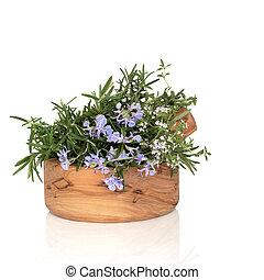 Rosemary and Thyme Herbs - Rosemary and thyme herbs in ...