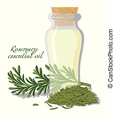 Rosemary essential oil - A bottle of essential oil, shown ...