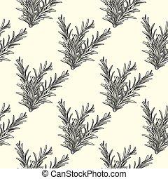 Rosemary herb branch ink sketch seamless pattern. Monochrome food ingredient wallpaper.