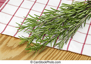 Rosemary on a towel