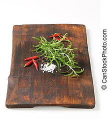 Rosemary, peppercorns and red chili peppers