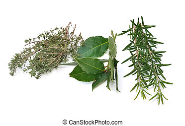 rosemary, thyme and bay leaves