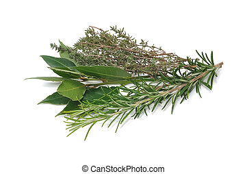 rosemary, thyme and bay leaves - bunch of herbs composed of...