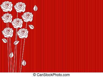 rosen, abstrakt, roter hintergrund