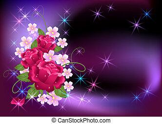 rosen, glühen, hintergrund