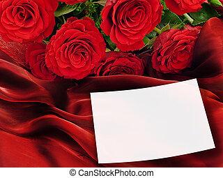rosen, mit, grüßen karte