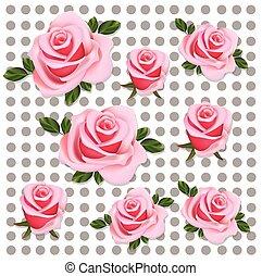 rosen, muster, abstrakt, hintergrund, vektor, abbildung