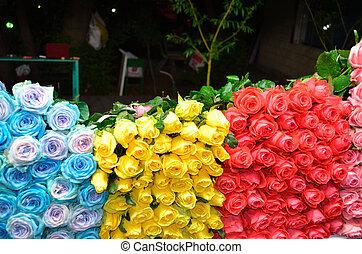 rosen, nacht, verkauf, messe, handeln