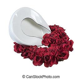 rosen, pfanne, bett