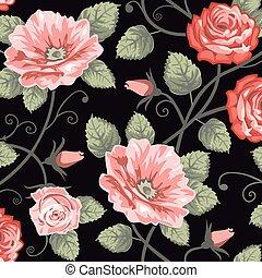 rosen, seamless, hintergrund