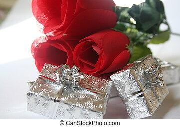 rosen, und, geschenke