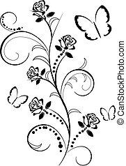 rosen, vlinders, flourishes