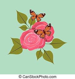 rosen, vlinders, ikone