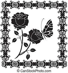 rosen, vlinders, schwarz