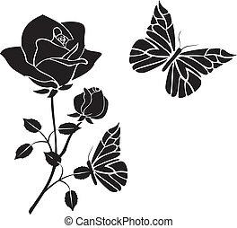 rosen, vlinders, vektor, schwarz