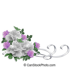 rosen, wedding, umrandungen, einladung