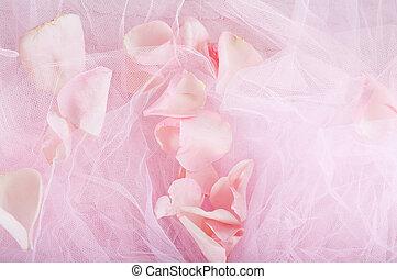 rosenblütenblätter, auf, rosa, stoff