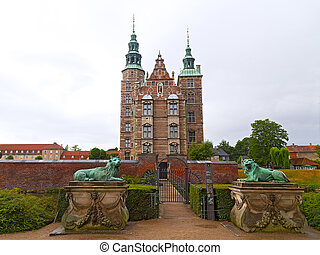 Rosenborg Castle in Copenhagen, Denmark. Rosenborg Castle Gardens was established in the 17th century as the private gardens of King Christian IV. It contains several historical buildings such as Rose