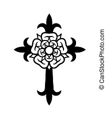 Rosenkreuz (Cross with Rose). Sacral mystical symbol of The...