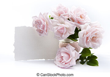 roser, bouquet, hilsen cards, stemningsfuld