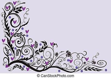roser, bryllup, card, ramme, blomstrede, hjørne, hilsenerne, invitation