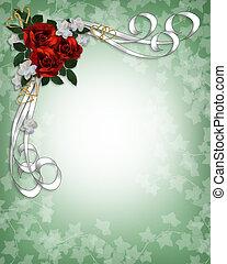 roser, bryllup, grænse, rød, invitation