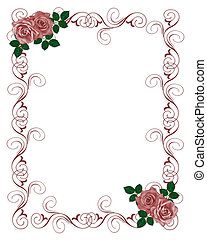 roser, bryllup, rød, invitation