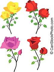 roser, vektor, farvet