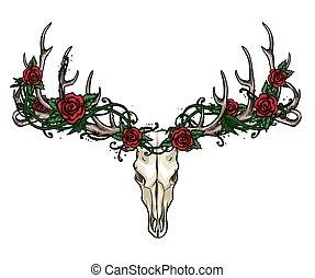 roses, étiquette, crâne, design.