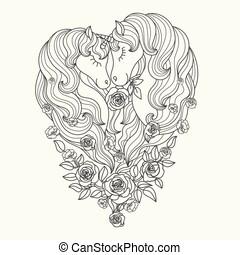 roses., ベクトル, 長い間, 黒, 一角獣, 対, たてがみ, 美しい, white.