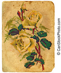 roses., 古い, postcard., 花束, ペイントされた