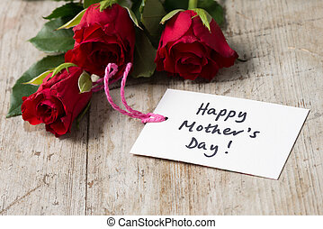 """Roses and a Card with """"Happy Mother's Day!"""" Greeting"""