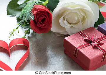Roses and a hearts on board, Valentines Day background, wedding day.