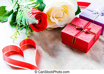 Roses and a hearts on board, Valentines Day background, wedding day