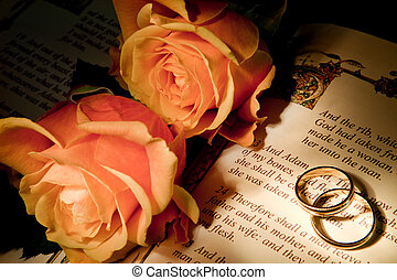 Roses and bible with Genesis text of Adam and Eve, a typical wedding text - the book illustration is copied from a 400 years old bible.