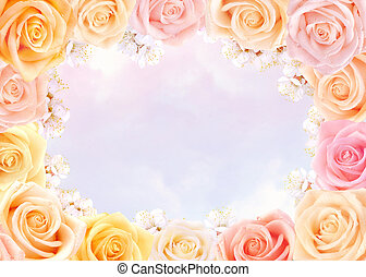 Roses and cherry flowers frame