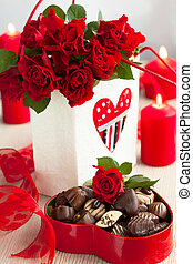 roses  and chocolate candies for Valentine's Day