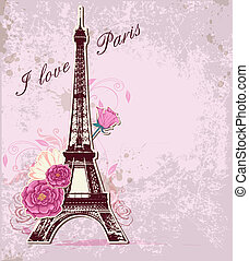Vector pink background with roses and Eiffel tower