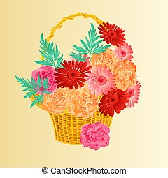 Roses and gerbers in a basket