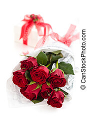 Roses and gift .