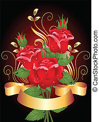 Roses and golden ribbon - Stylized card with roses and...
