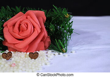 Roses and grass photoshoot on sand. Valentine's day