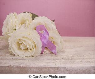 Roses and pink ribbon