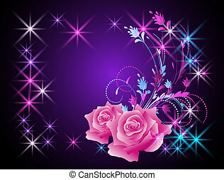 Roses and stars - Glowing background with roses and stars