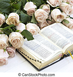 Roses and the Bible. Holy Bible. Edification