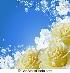 Roses and white flowers - Roses, white flowers and bubbles...